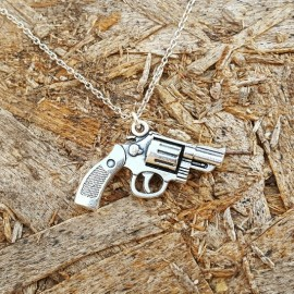 Silver Pistol-Revolver Necklace
