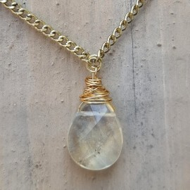 Yellow Rainbow Quartz Necklace