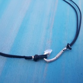 Leather Fish Hook Necklace