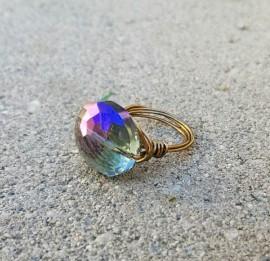 Purple Crystal Rainbow Ring