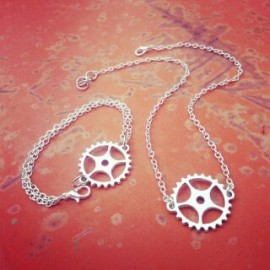 Silver Sprocket Choker SET